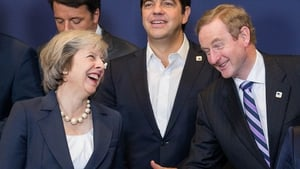 British Prime Minister Theresa May and Taoiseach Enda Kenny are pictured at the EU Summit in Brussels