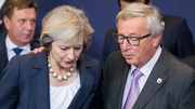 British Prime Minister Theresa May and European Commission President Jean-Claude Juncker are pictured during the European Summit in Brussels