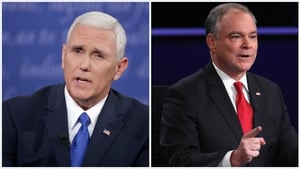 Mike Pence (L) is Donald Trump's running-mate and Tim Kaine (R) is Hillary Clinton's VP pick