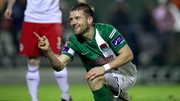 Steven Beattie celebrates scoring Cork's third goal