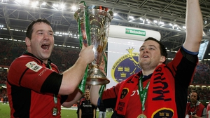 Anthony Foley (L) and Marcus Horan (R) lift the Heineken Cup back in 2006