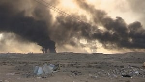 US officials said IS set the sulfur plant ablaze on Thursday during fighting around al-Mishraq, which is south of Mosul
