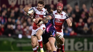Jared Payne of Ulster bursts through the Exeter defence
