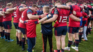 Anthony Foley's sons Dan and Tony join the Munster squad at the end of the game