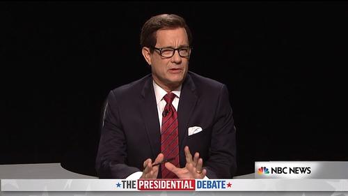 Tom Hanks as US debate moderator Chris Wallace