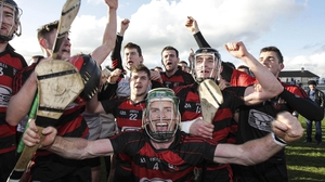 Ballygunner players celebrate their Waterford SHC title win at Walsh Park