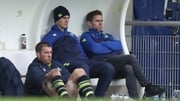 O'Brien and Sexton sit in hte Leinster dugout with former team-mate Eoin Reddan