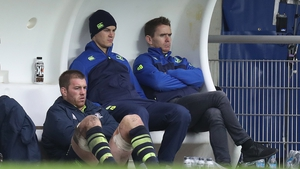 O'Brien and Sexton sit in the Leinster dugout with former team-mate Eoin Reddan