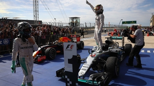 Lewis Hamilton celebrates in Texas