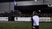 Stephen Kenny celebrates with Dundalk fans after the final whistle