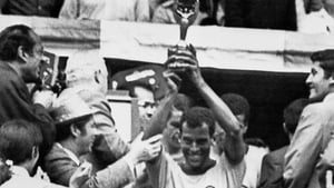 Carlos Alberto holds aloft the World Cup in 1970