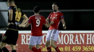 Conan Byrne celebrates a first-half goal against Dundalk