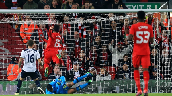 Sturridge scores the first of his two goals against Spurs