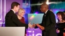 Luke Ellis and Camilla, Duchess of Cornwall present Paul Beatty with his Booker prize in London on Tuesday night