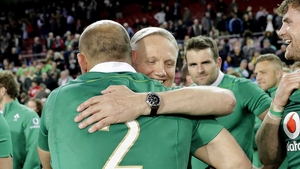 Joe Schmidt embraces Rory Best after the defeat of South Africa at Newlands Stadium