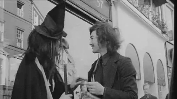 Mike Murphy as a witch on Grafton Street, Dublin in 1972