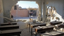 Adamaged classroom at a school after it was hit in an air strike in the village of Hass, in the south of Syria's rebel-held Idlib province