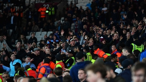 West Ham fans taunt Chelsea supporters at London Stadium