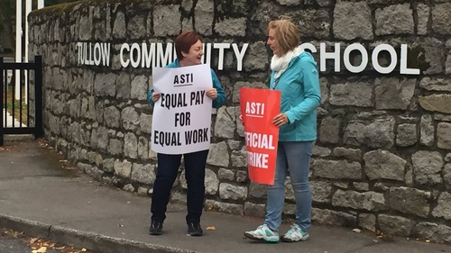 Teachers hold a picket outside Tullow Community School