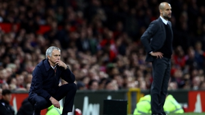 Jose Mourinho and his cross-city rival Pep Guardiola at Old Trafford