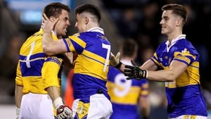 Morven Connolly celebrates with Tom Quinn and Eoin O'Brien at full time