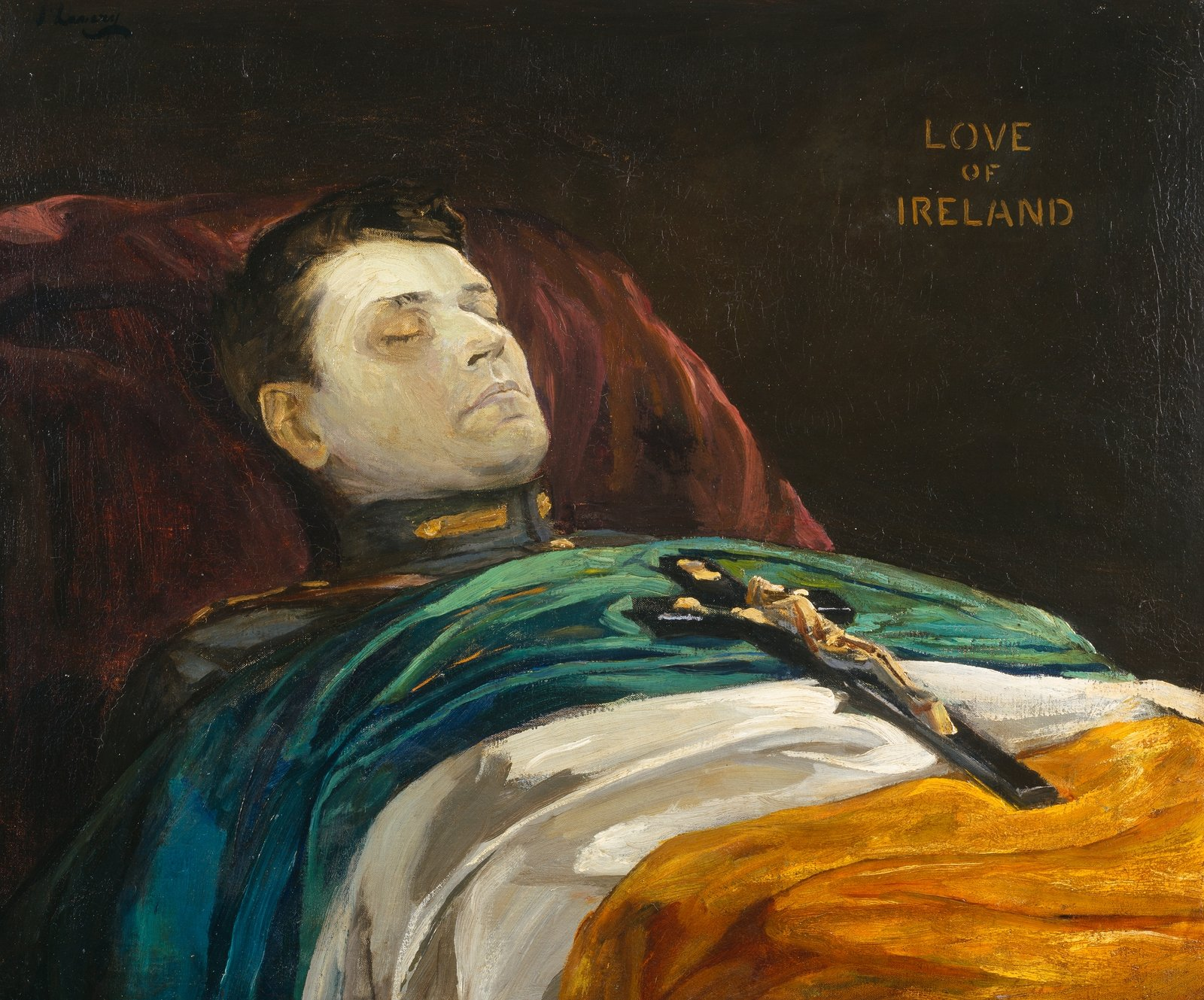 Image - Sir John Lavery's 1922 painting of Michael Collins lying in state, Michael Collins (Love of Ireland).