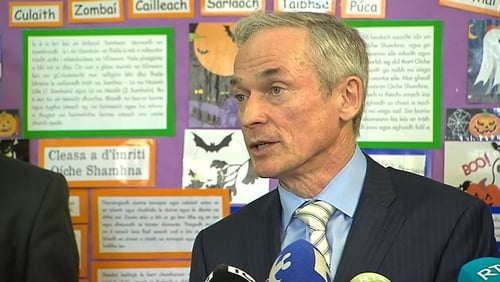 Minister for Education Richard Bruton speaking at the launch of the plan in An Cheathrú Rua, Co Galway