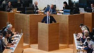 Wallonian Socialist premier Paul Magnette delivers a speech ahead of the vote