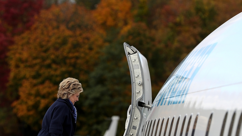 Hillary Clinton boarding her campaign plane in New York earlier today