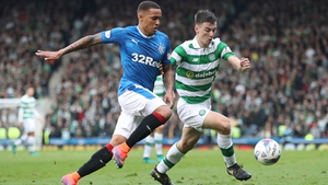 Kieran Tierney in Old Firm action