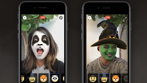 The new camera feature enables users to put masks on their faces using augmented reality, in a manner similar to Snapchat