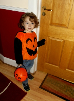 2 year-old Sean Hoban in pumpkin costume (Pic: Helen Hoban)