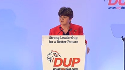 Arlene Foster was addressing the DUP's annual conference