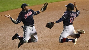 Francisco Lindor and Rajai Davis of the Cleveland Indians celebrate