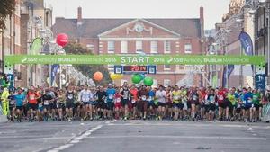 Runner gather at the start of the  Dublin Marathon 2016