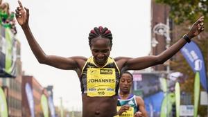 Helalia Johannes from Namibia won the women's race in 2:32:31