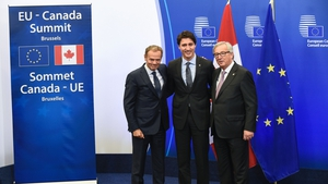 Former president of the European Union Donald Tusk, Canadian Prime Minister Justin Trudeau and former president of the European Commission Jean-Claude Juncker at the CETA treaty signing in Brussels in 2016. Photo: Jasper Juinen/ Bloomberg via Getty Images
