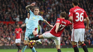 Daley Blind battles for possession with Burnley's Jeff Hendrick during the 0-0 draw at Old Trafford