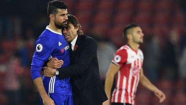 Diego Costa and Antonio Conte in happier times
