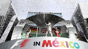 Lewis Hamilton celebrates his Mexican Grand Prix victory