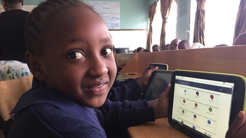 Children at Bidii Primary School use the tablets for many of their lessons