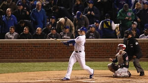 Anthony Rizzo was on the scoreboard as the Cubs edged out Cleveland in game five