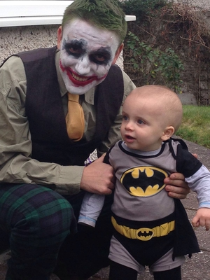 Holy Bat Shocker! Pint-sized hero cosies up to his arch nemesis (Pic: Rick O'Neill)