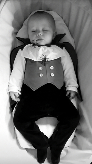 Don't be fooled by this sleepyhead - Dracula (aka Caolán Byrne) is just conserving his energy for the big night (Pic: Sharon Byrne)