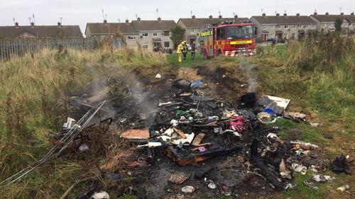 A bonfire was extinguished in Balbriggan (Pic: @DubFireBrigade)