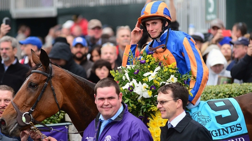 Ryan Moore celebrating winning the 2015 Breeders' Cup Turf atop Found
