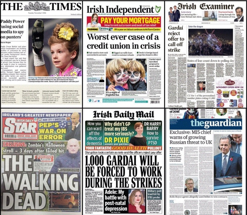 Bids to avert this Friday's planned strike by Gardaí dominates the front pages this morning.