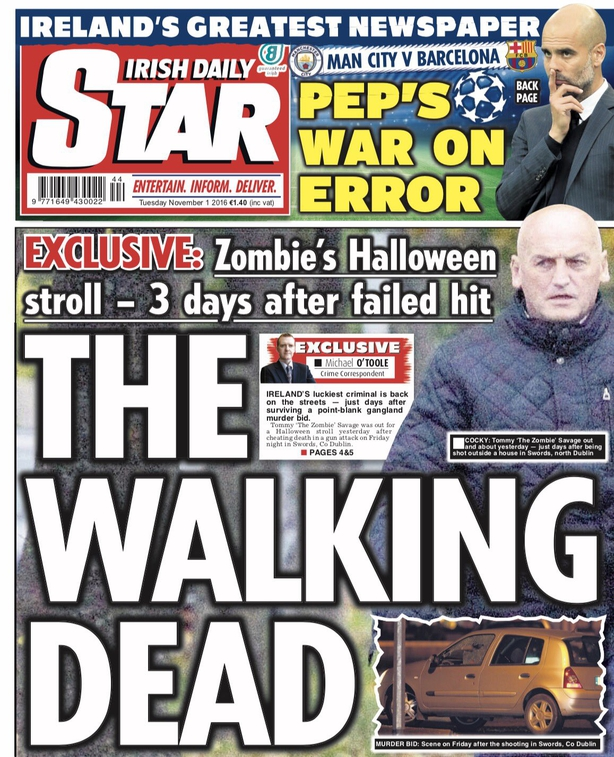 Irish Daily Star Tuesday November 1st