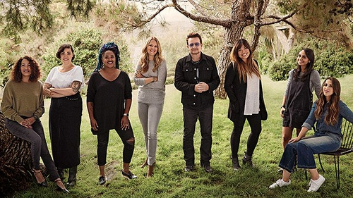 Bono pictured with some of Glamour magazine's Women of The Year honourees