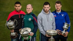 (L-R) Keith Rossiter (Oulart the Ballagh), Brian Stapleton (Borris in Ossory/Kilcotton), Martin Kavanagh (St Mullins) and Paul Greville (Raharney) ahead of Sunday's Leinster club hurling quarter-finals